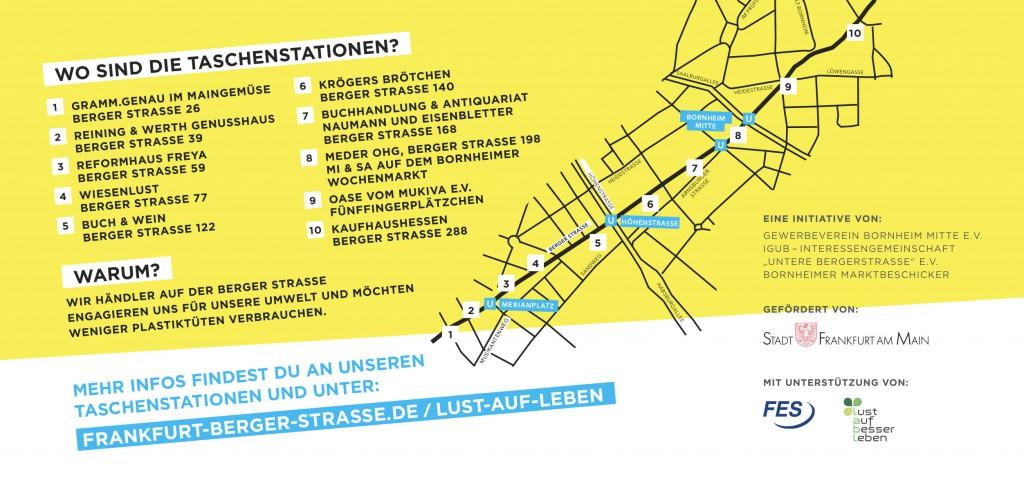 Die Station Fünffingerplätzchen ist nun vor dem Biospahn, Berger Straße 222. Ich bin dabei: Plastikfrei!